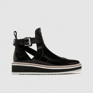 Zara Flat Cut Out Ankle  Boots